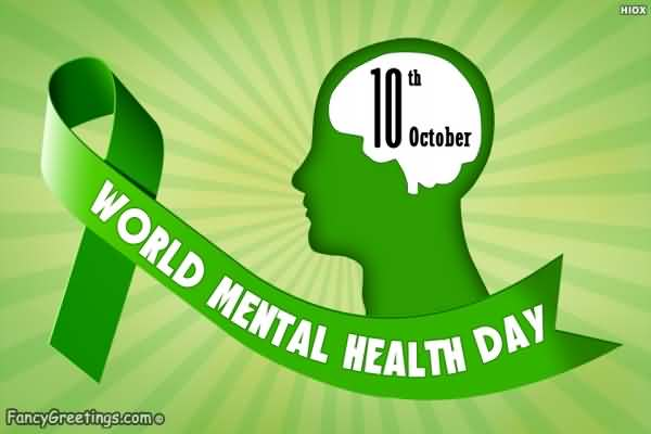 10th October World Mental Health Day Green Ribbon