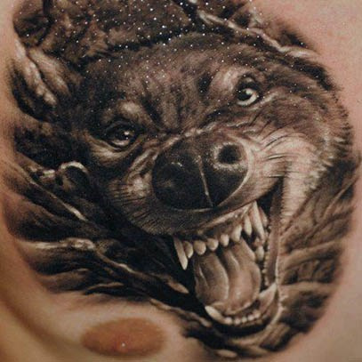 3d Angry Wolf Tattoo On Chest