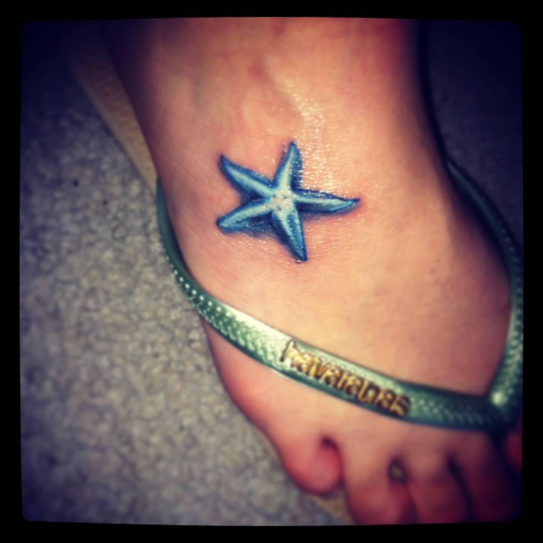 3d Blue Starfish Tattoo On Foot