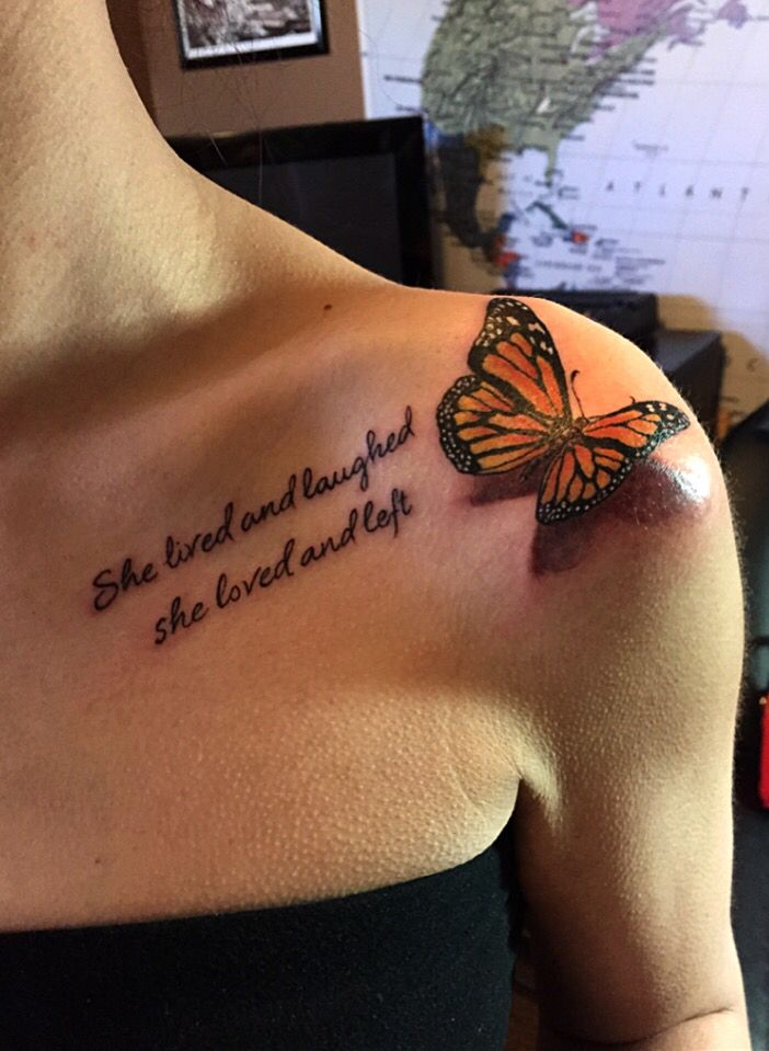 3d Butterfly Tattoo With Quote