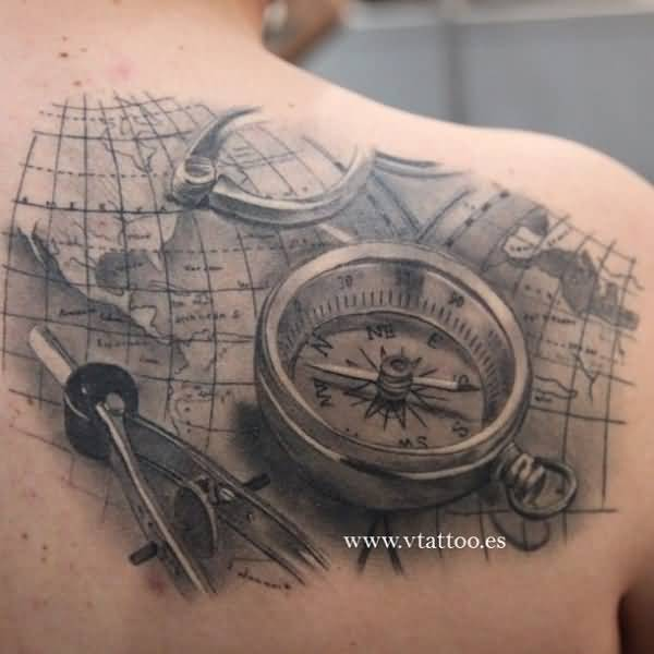 3d compass and map nautical tattoo on back shoulder. Black Bedroom Furniture Sets. Home Design Ideas