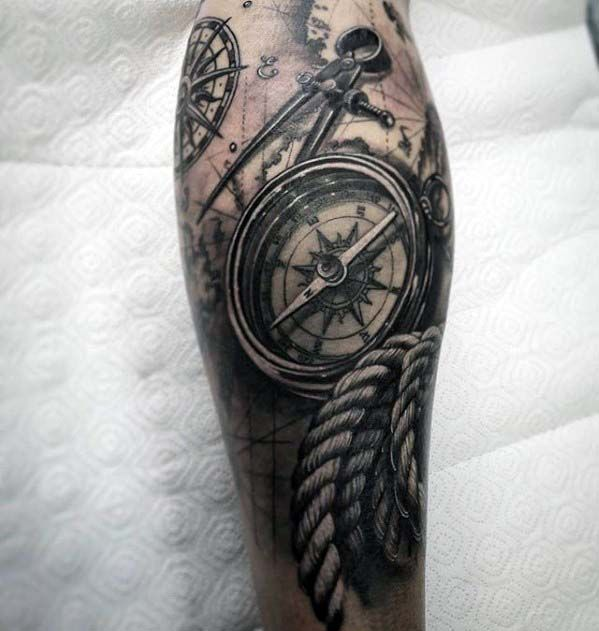 3d compass with rope realistic nautical tattoo on leg. Black Bedroom Furniture Sets. Home Design Ideas