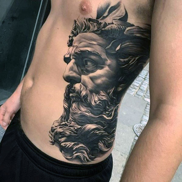 3d greek god portrait tattoo on side rib. Black Bedroom Furniture Sets. Home Design Ideas