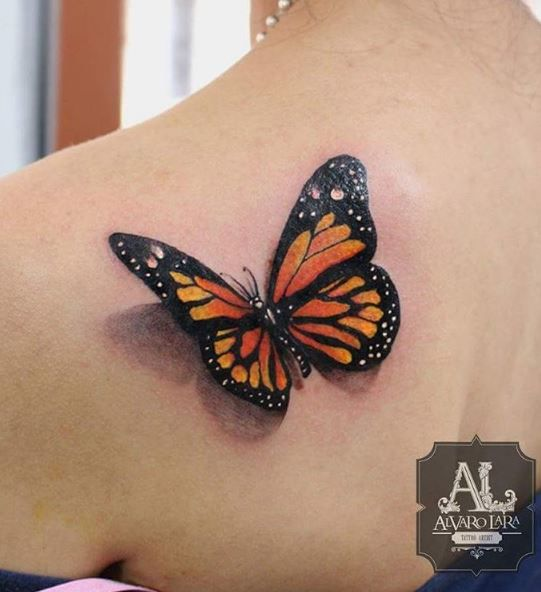 3d monarch butterfly tattoo on back shoulder. Black Bedroom Furniture Sets. Home Design Ideas