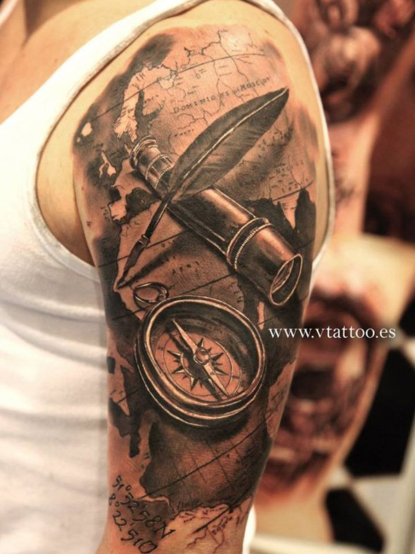 3d nautical tattoo on half sleeve for Half sleeve tattoos with meaning