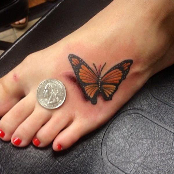 25 Great Ideas About Realistic Butterfly Tattoo On: 3d Realistic Butterfly Tattoo On Foot