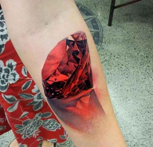 3d Red Diamond Tattoo On Leg Calf