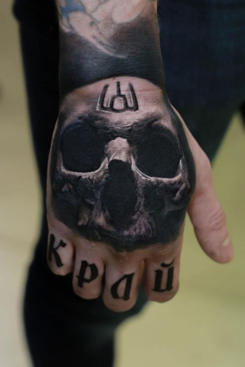 3d skull tattoo on hand for 3d hand tattoo