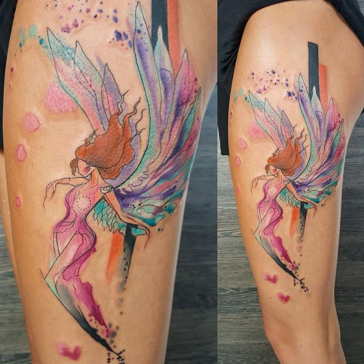abstract colorful angel tattoo on thigh. Black Bedroom Furniture Sets. Home Design Ideas