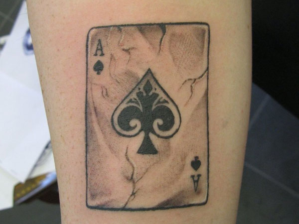 Ace of spade old card tattoo design for Card tattoo designs