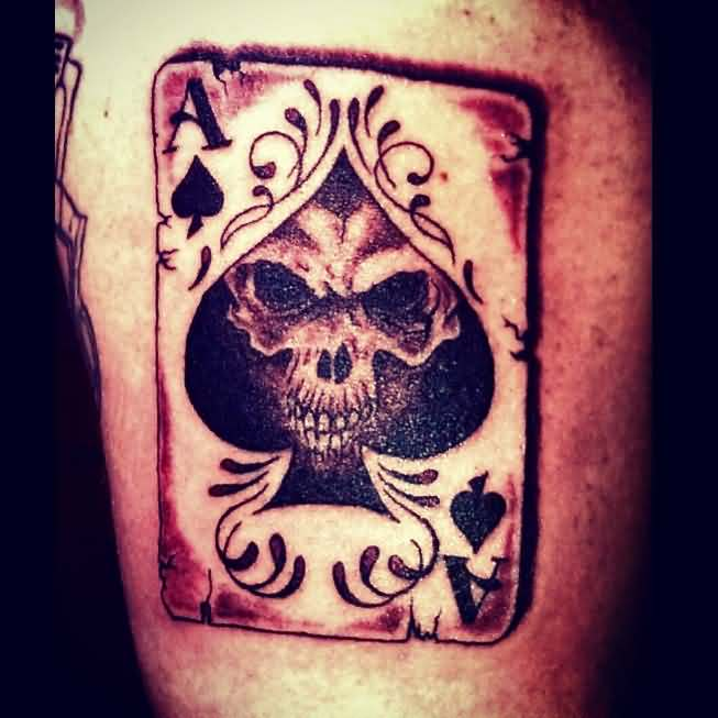 Ace Of Spade With Skull Tattoo