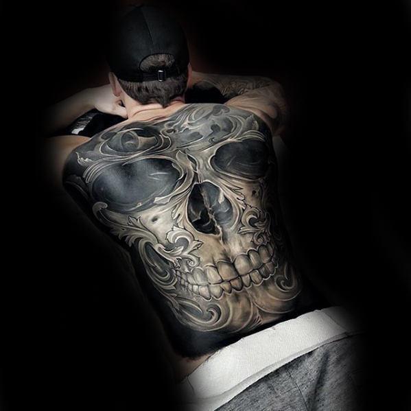 Adorable Skull Tattoo On Full Back