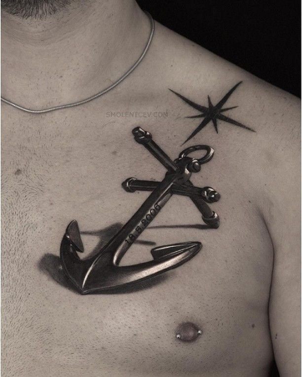 amazing 3d metallic anchor tattoo on chest for men. Black Bedroom Furniture Sets. Home Design Ideas