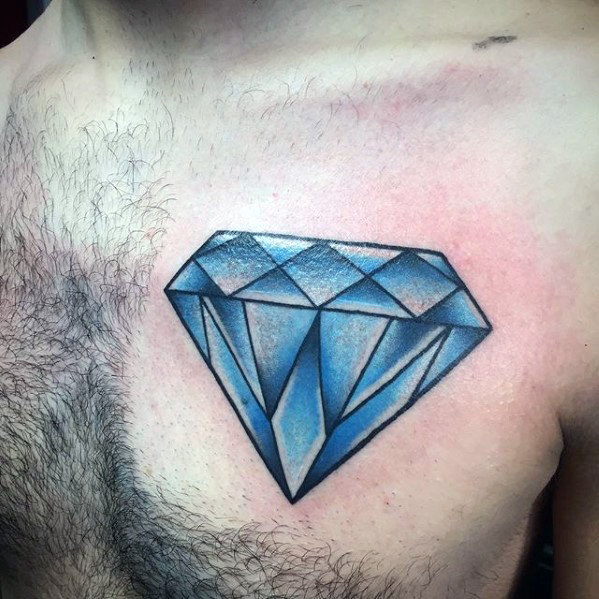 amazing blue diamond tattoo on side chest. Black Bedroom Furniture Sets. Home Design Ideas