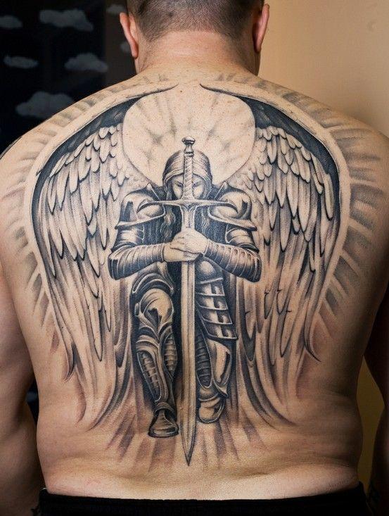 Amazing Guardian Angel Tattoo On Full Back
