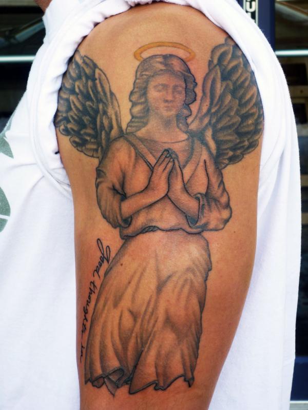 Amazing Praying Angel Tattoo On half Sleeve
