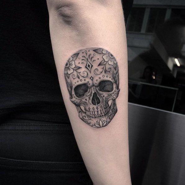 amazing sugar skull tattoo on arm. Black Bedroom Furniture Sets. Home Design Ideas
