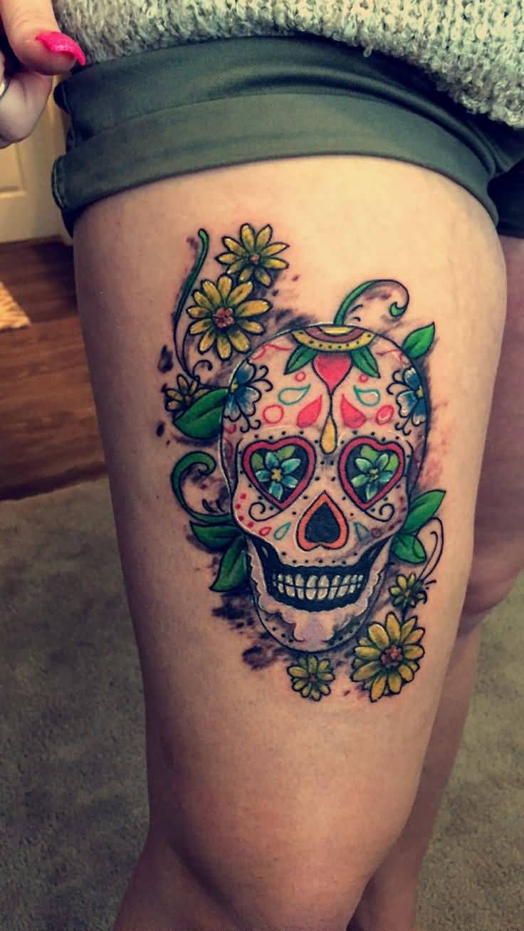 60 most adorable skull tattoo design ideas for Skull leg tattoos