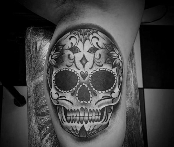 Amazing Sugar Skull Tattoo On leg calf