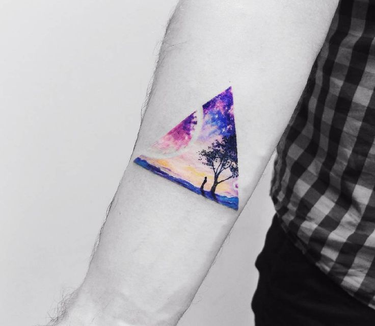 Amazing Triangle Forest Watercolor Tattoo