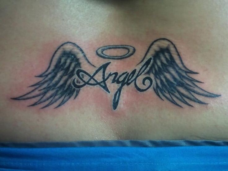 50 most amazing angel wings tattoo designs with meanings for Angel wings tattoo with halo