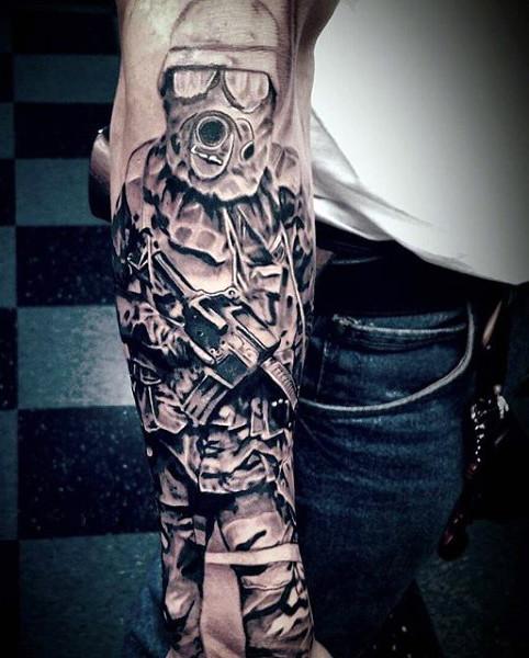 Army Man Military Tattoo On Full Sleeve