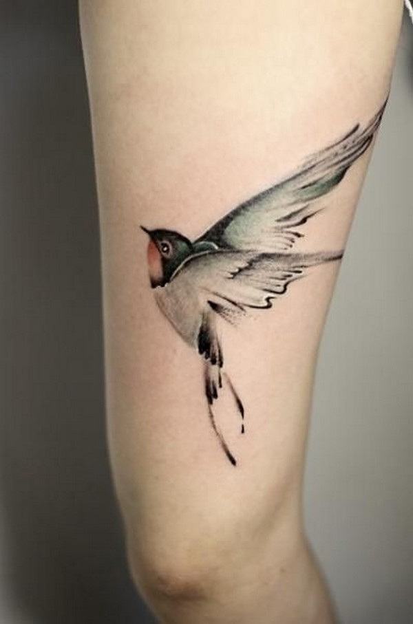 astonishing bird tattoo on thigh. Black Bedroom Furniture Sets. Home Design Ideas