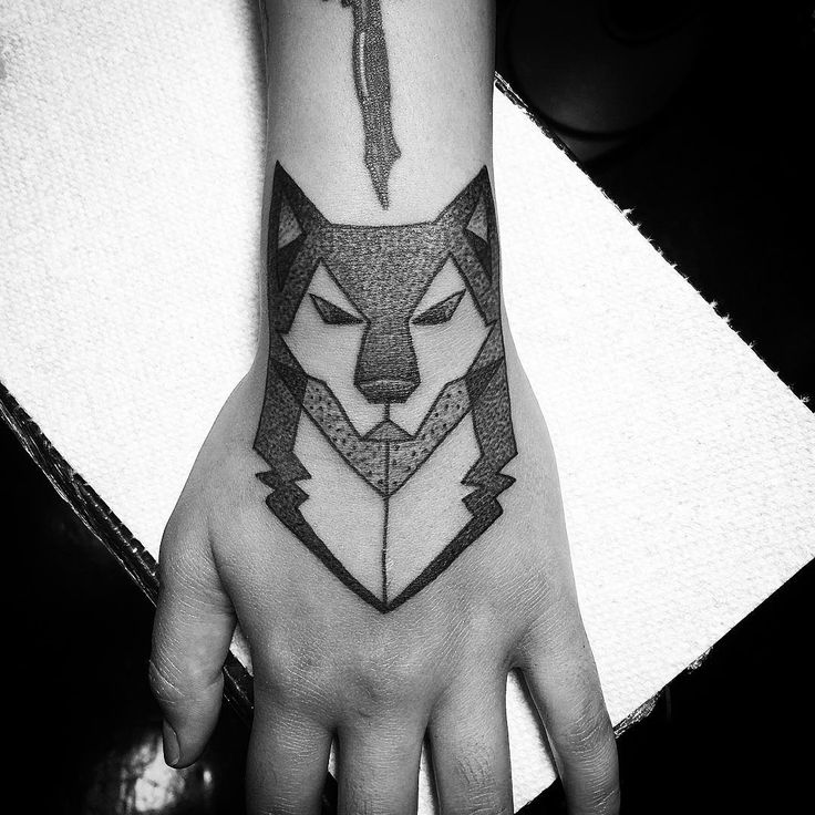 Aztec Wolf Tattoo On Wrist