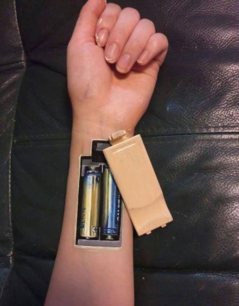 Battery On Hand 3d Tattoo