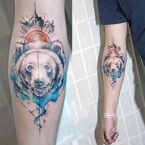 Bear face watercolor Tattoo On Forearm Watercolor Bear Tattoo
