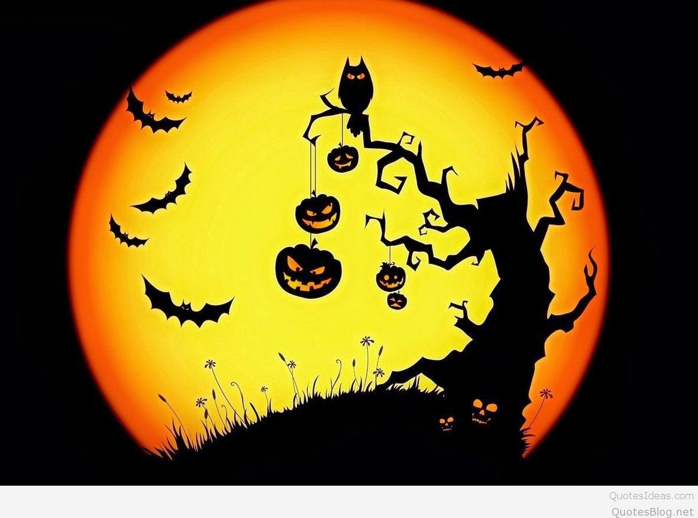 Best Halloween scary bats owl pumpkins moon wallpaper