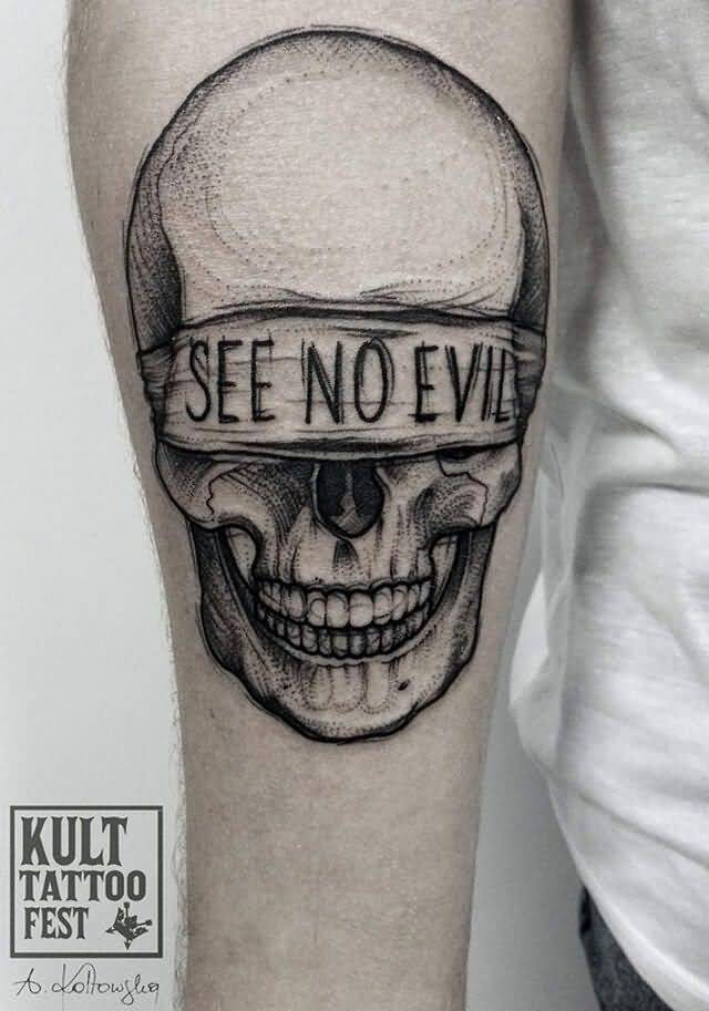 Black And Gray Blindfold Skull With See No Evil Tattoo
