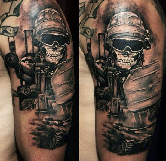 black and gray soldier skull military tattoo on shoulder. Black Bedroom Furniture Sets. Home Design Ideas
