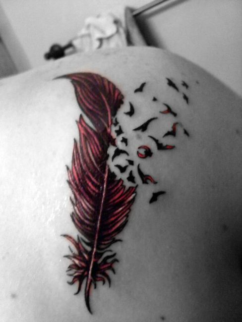 Black And Red Feather Tattoo With Flying Birds