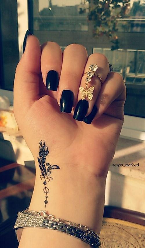 Black Small Feather Tattoo On Wrist