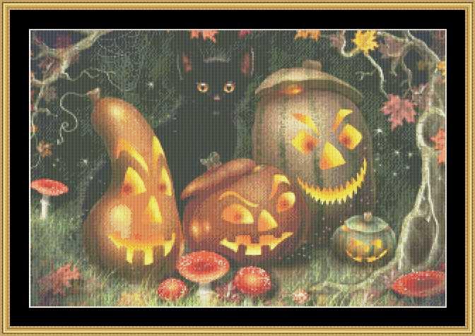 Black cat behind the lighted Halloween pumpkins image