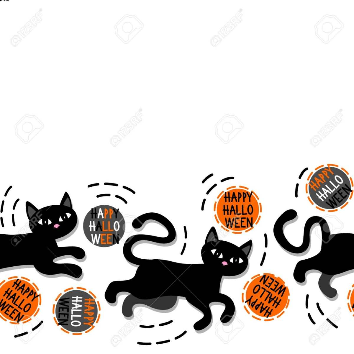 Black cats with Halloween wishes horizontal border on white background picture