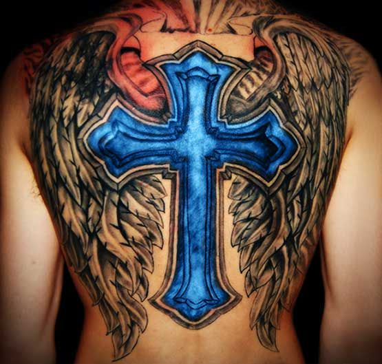 Blue Cross Tattoo With Angel Wings On Back