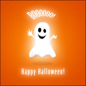 Charmant Boo! Happy Halloween Ghost Greeting Card