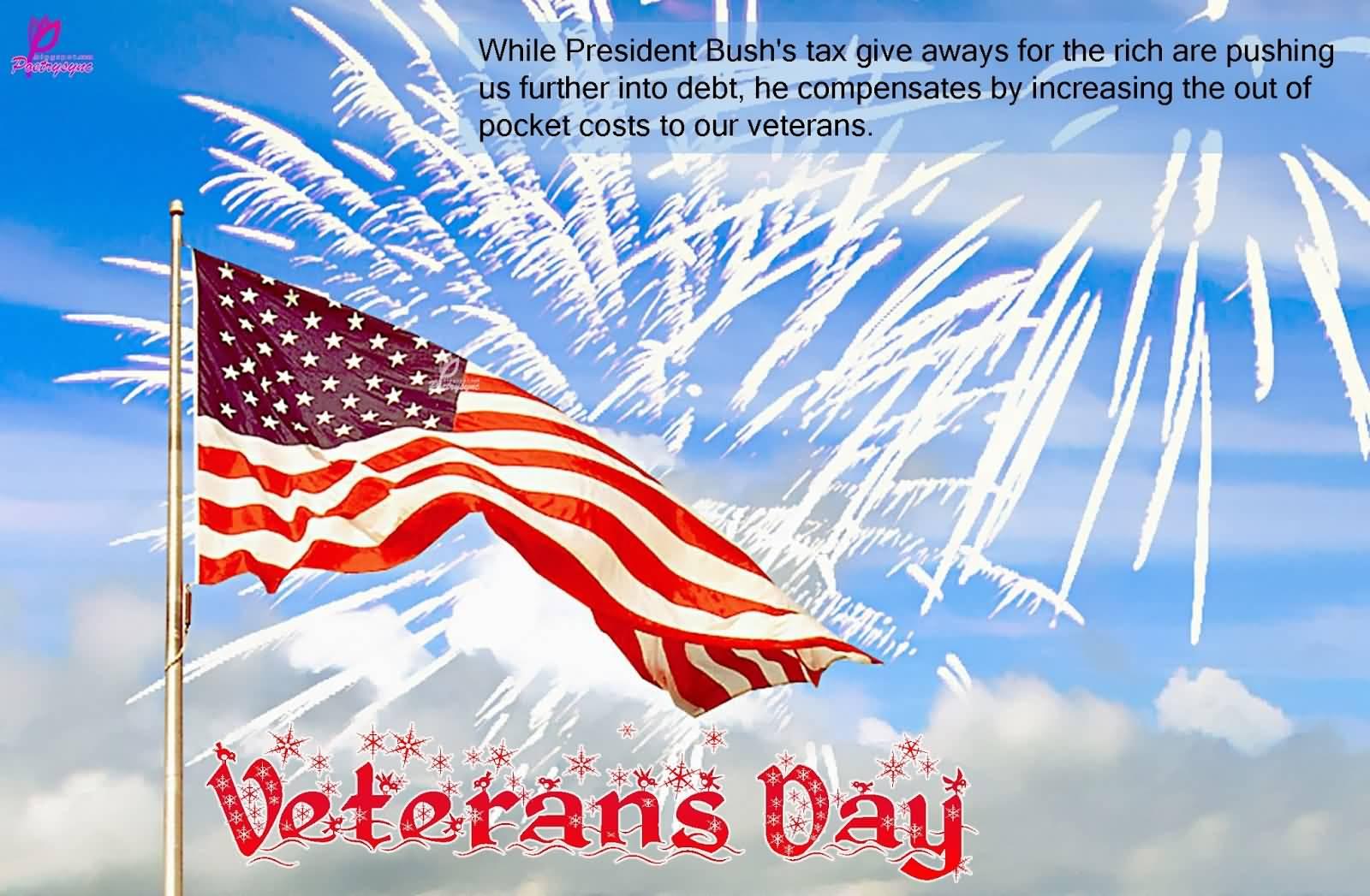 Celebrating Happy Veterans Day Waving Flag Wallpaper