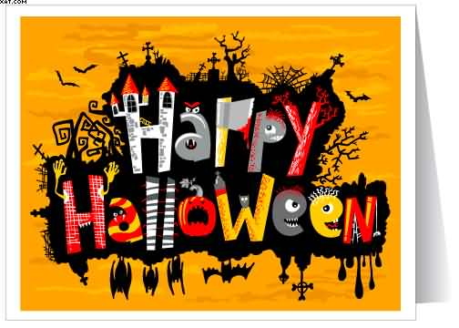Classic And Colorful Text Wishes Happy Halloween Greeting Card