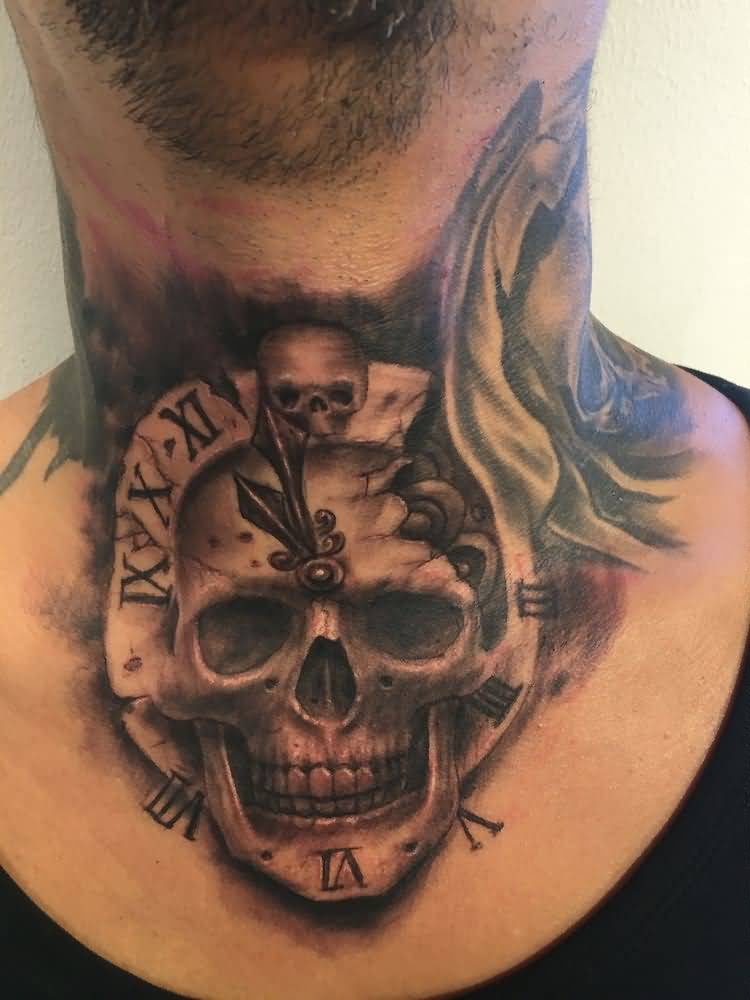 Clock And Skull Tattoo On Neck
