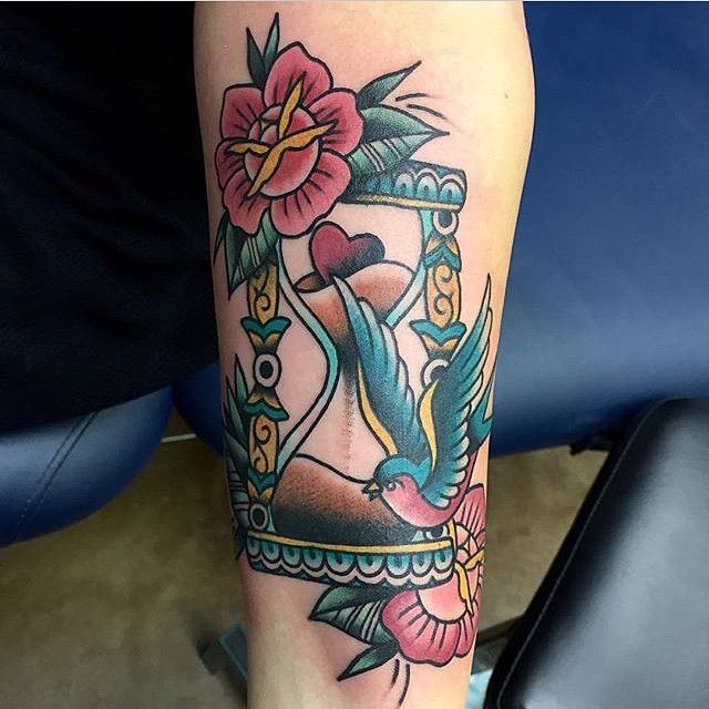 Hourglass Tattoo Hourglass And Tattoos And: Colorful Flower Bid And Hourglass Tattoo Design