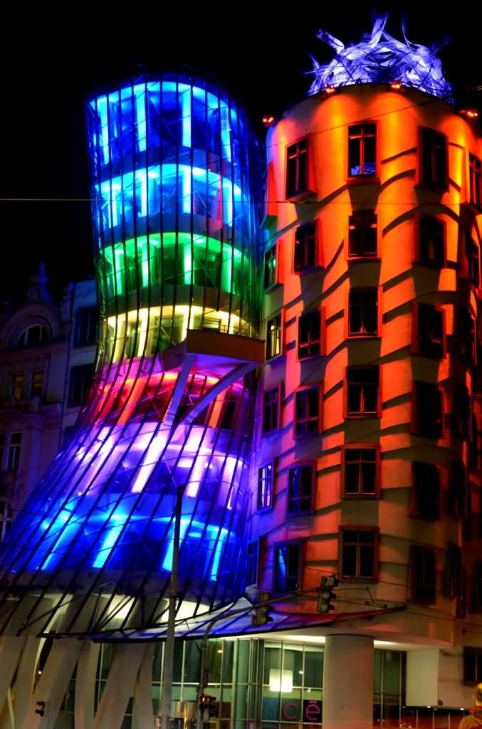 Colorful Lights On The Dancing House During Night In Prague