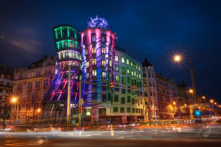 Colorful Lights On The Dancing House at Night