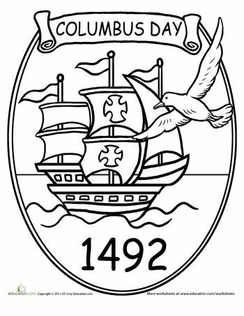 Columbus Day 1492 Coloring page