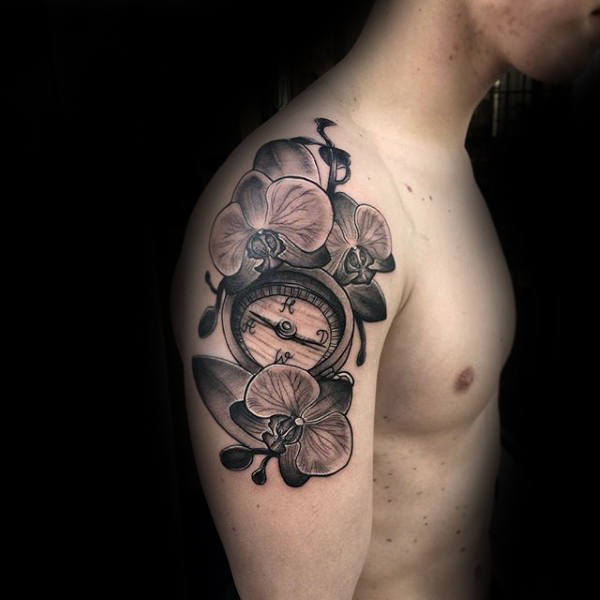 compass and orchid tattoo on upper arm. Black Bedroom Furniture Sets. Home Design Ideas