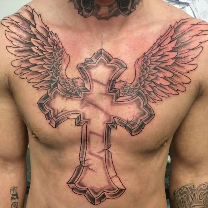 Cross Angel Wing Tattoo On Chest