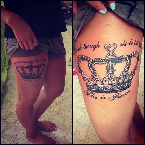 Crown Tattoo With quote On Thigh