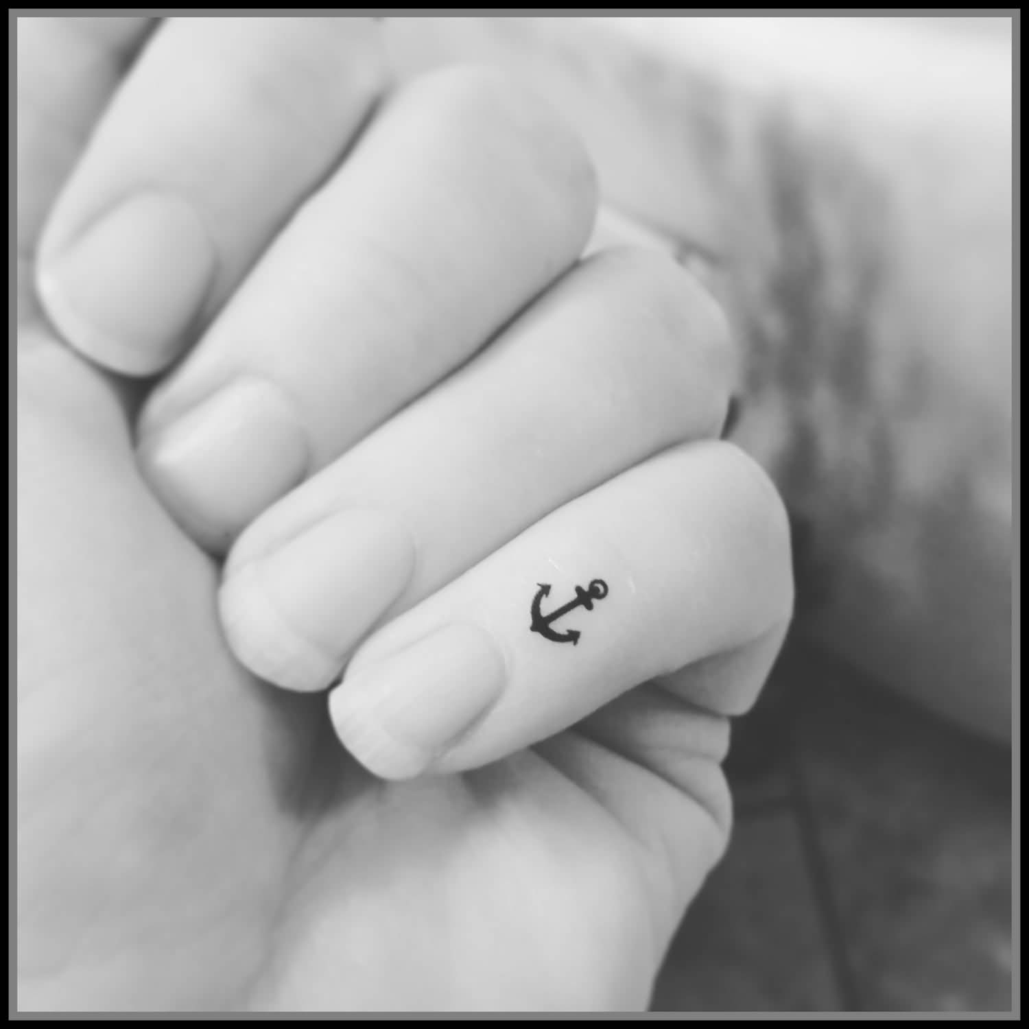 Cute Tiny Anchor Tattoo On Pinky Finger